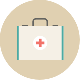 Medical kit icon.